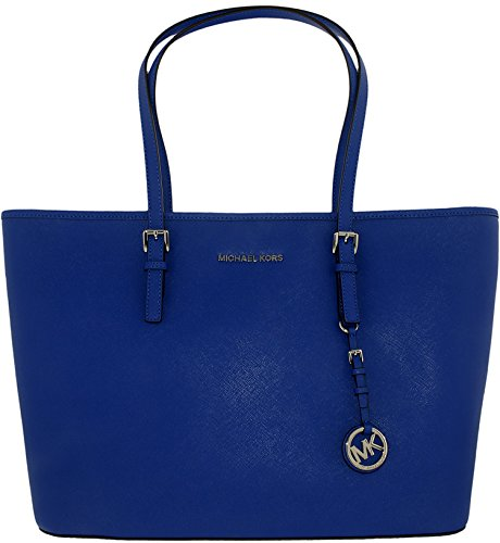 Michael Kors Women's Medium Jet Set Travel Saffiano Bag Leather Shoulder Tote - Electric Blue by MICHAEL Michael Kors