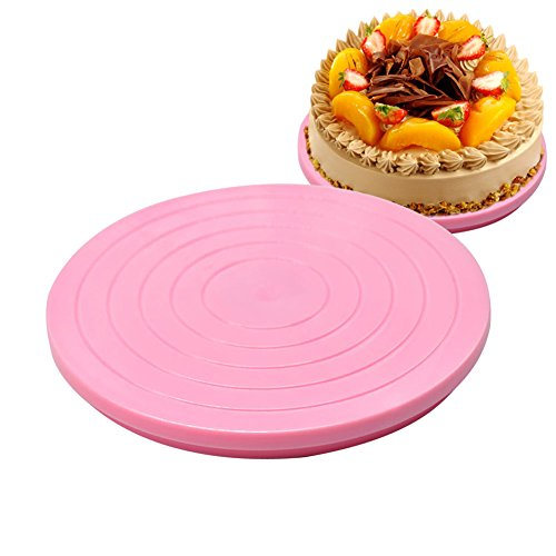 Adealink DIY Plastic Cake Stand Decor Turntable Manually Rotating Round Shaped Cake Mounting Pattern Tool