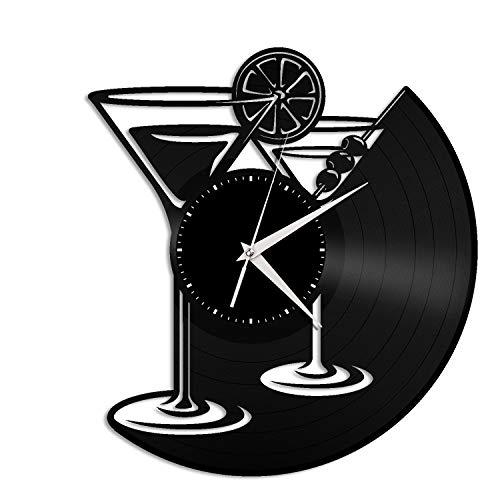 VinylShopUS - Martini Glass Vinyl Wall Clock Unique Design Gift for Home and Kitchen Room Decoration