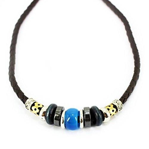 [MORE FUN Charm Opal Brown Wood Beads Leather Adjustable Woven Braided Rope Necklace (Blue)] (Fire Dog Costume For Toddler)