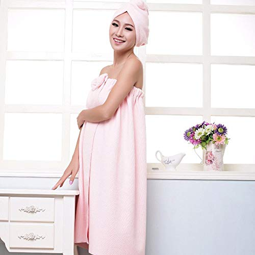 (Women's Microfiber Bath Towel Set With Hair Band Bathrobe Home Textile Bathroom Items Gear Stuff Accessories Supplies Pink)