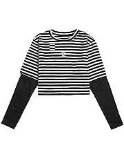 SweatyRocks Women's Color Block Butterfly Print Striped Long Sleeve Crop Top T Shirt
