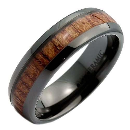 MJ Metals Jewelry Black Ceramic 6mm Wedding Band, Inlay Made from Real Koa Wood, Ring Size 5 (Band Wedding Inlay Mens)