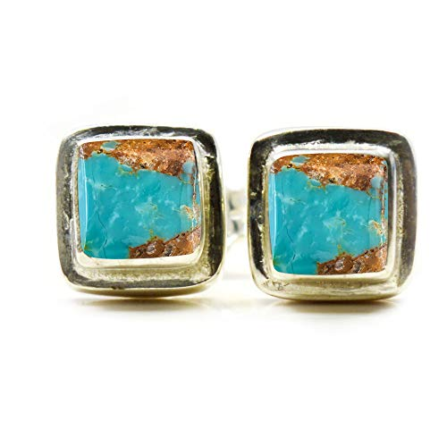 CHOOSE YOUR COLOR Square Shape Natural GEMSTONE Silver Stud Earrings For Women & Girls Daily Wear ()