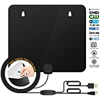 HDTV Antenna,TV Antenna for Digital TV Indoor,Digital Antenna for HD TV with USB PowerSupply and 10FT Coax,50-80 Miles Long Range Amplified TV Antenna,1080P Indoor Antenna for TV.