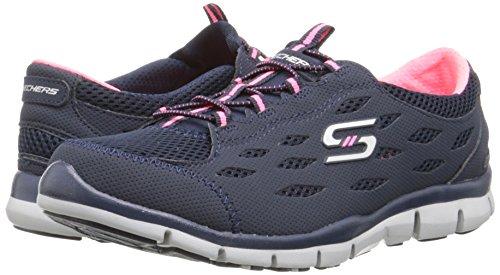 Skechers Deportivo Mujer Gratis Zapatillas de deporte elegante y elegante, punto negro - Navy/Pink