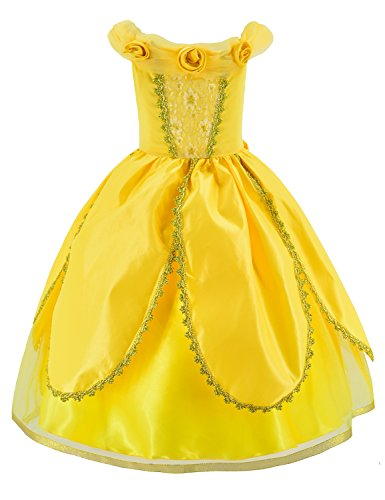 Princess Belle Costume Deluxe Party Fancy Dress Up For Girls with Accessories 10-12 Years(150cm) by Party Chili (Image #3)