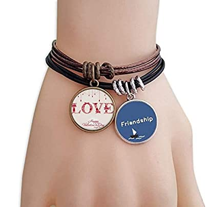 YMNW Love Happy Valentine s Day Red Friendship Bracelet Leather Rope Wristband Couple Set Estimated Price -
