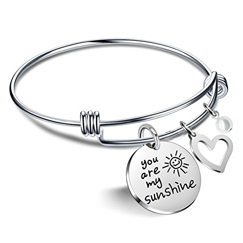 lauhonmin Bracelets for Women Valentine Gifts for Best Friends Family - You are My Sunshine Pearl Bangle