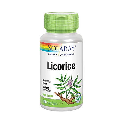 Solaray Licorice Root 450mg   Healthy Digestive System, Liver & Menopausal Support Formula   Non-GMO   Vegan   100 VegCaps ()