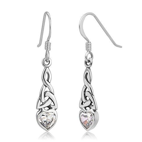 Celtic Knot Heart Earrings (925 Sterling Silver Celtic Knot Cubic Zirconia CZ White Heart Drop Dangle Hook Earrings 1.29 inches)