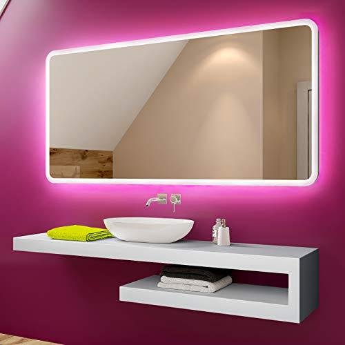 FORAM Espejo de Bano con Iluminacion LED - Luz Espejo de Pared con Accesorios - Diferentes tamanos para Bano Dormitorio Maquillaje - L59