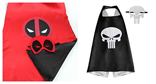 [Athena Dress Up Deadpool & Punisher 2 Capes, and 2 Masks Gift Box Included] (Punisher Costumes For Sale)