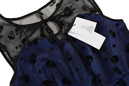 Renflements Robe Vintage Pour Les Femmes Maille Robes De Soirée Vintage Swing Robe De Broderie Robes Multicolores Bleu