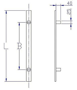 600mm Edelstahl Haust/ür Stangengriff aus Flachprofil gerade St/ützen L/änge