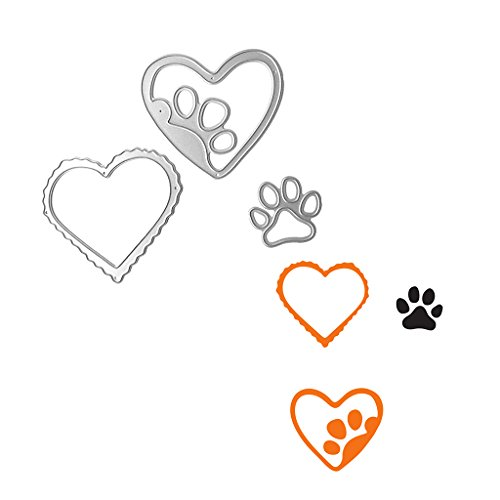 Mimgo Metal Steel Embossing Cutting Dies Stencil Kit For Handmade DIY Scrapbooking Paper Card Craft - Love & Dog's Palm by Mimgo (Image #1)