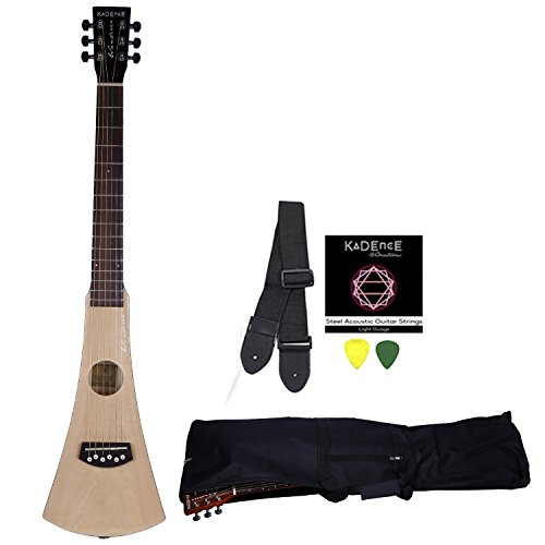 Kadence Wanderer Series Travel Guitar, Spruce Combo with Strings, Strap, Bag and 3 Picks