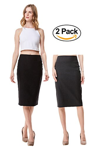 MoDDeals Women's High Waisted Knee Length Stretch Bodycon Pencil Skirt 2 Pack (Small, (High Waisted Black Pencil Skirt)