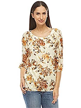 Veronica Beige/Brown Round Neck Blouse For Women