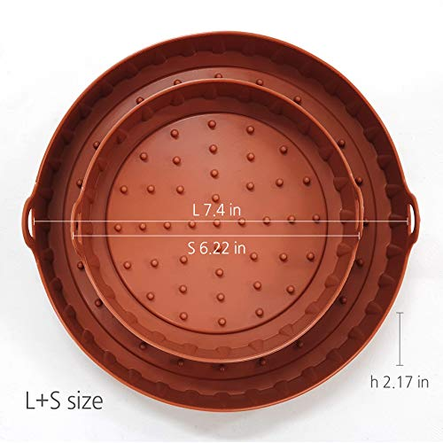 HAIM Living SILICONE TRAY for Air Fryer, Set of 2 - Premium Quality&Safe - Medical Grade Silicone - Non-Stick, User-Friendly - Dishwasher Safe & Heat Resistant - Healthy & Hygienic - Widely Compatible ()