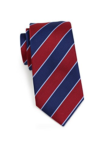 Bows-N-Ties Men's Necktie Striped Skinny Red and Blue Silk Tie 2.75 ()