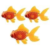 Aquarium Fish Tank Plastic Swimming Gold Fish Decoration Yellow Red 3 Pcs
