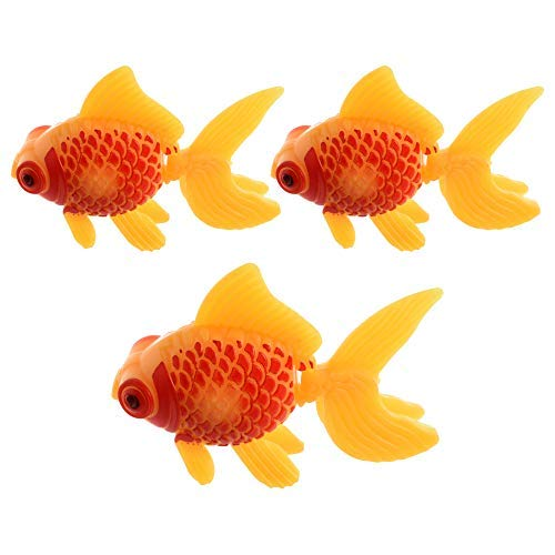 (Aquarium Fish Tank Plastic Swimming Gold Fish Decoration Yellow Red 3 Pcs)