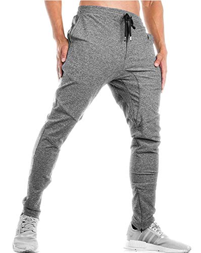 TBMPOY Men's Basic Warm Up Pants Performance Jersey Soccer Pants for Men(Light Grey,US XL) ()