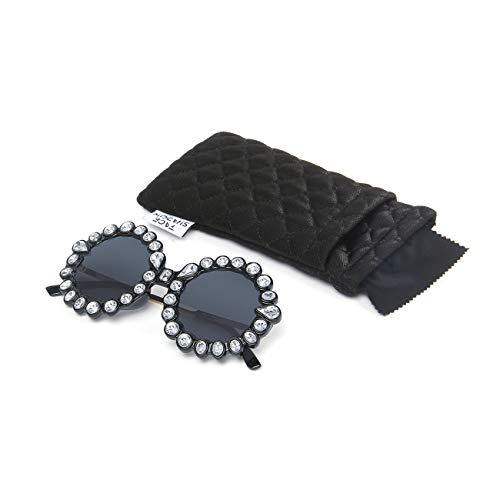 Bling Face Black - Face Shadow Rhinestone Oversized Sunglasses Fashion Round Thick Plastic Metal Frame Retro Bling Diamond Sun glasses for Women Black Lens/White