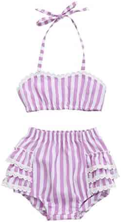 3c48e74f39 Vincent&July Toddler Baby Girls Lace Straps Backless Tops+Striped Shorts  Beach Outfits