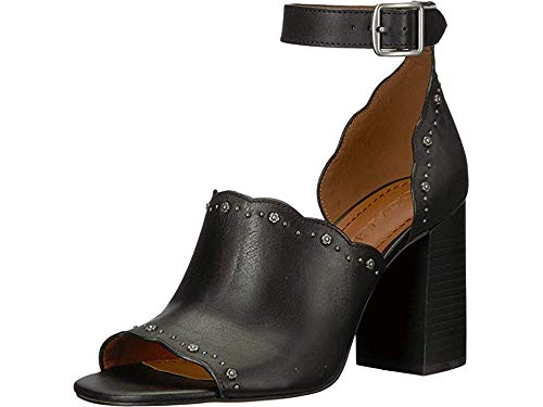 Coach Women's Marnie Block Heel Shootie with Tea Rose Studs Black Leather 5.5 M -