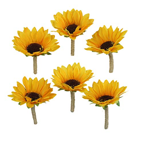 Lily Garden Artificial Calla Lily Sunflower and Peony Flower Wedding Bouquets (boutonnieres x 6)]()
