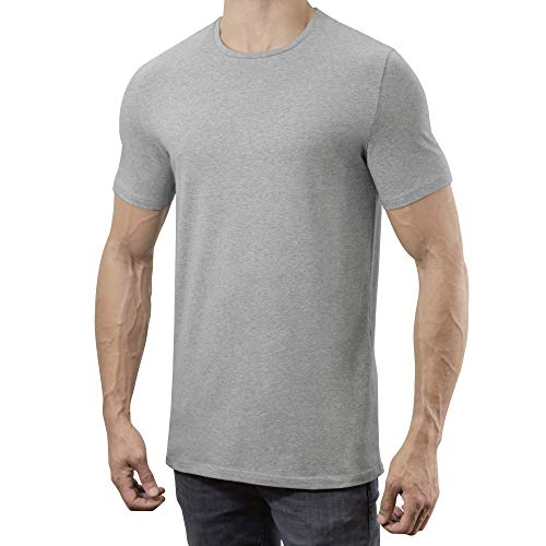Lanky Llama Legends Crew Neck T-Shirt | Fit for Tall Slim Men (Smoke Grey, Large (Semi-Tall))