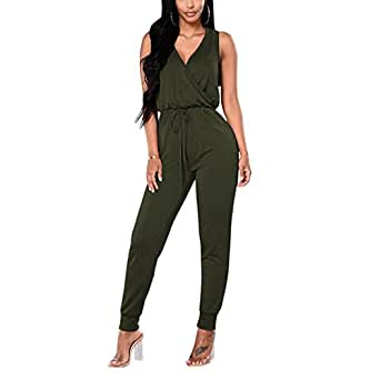 TYFeng Women's Sleeveless Romper V Neck Long Casual Jumpsuits Playsuits Outfits with Belt (Army Green, S)