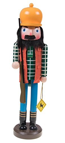 Christmas Wooden Hunter Nutcracker with Reflective Vest and Rifle - 15