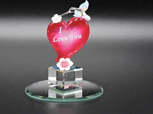 Handmade Glass Hummingbird Love Heart