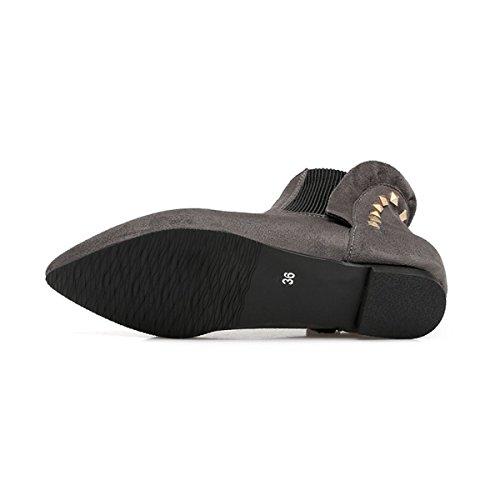 ... YE Damen Flache Chelsea Boots Ankle Boots Stiefeletten mit Nieten  Bequem Modern Schuhe Grau 9ca4de4650