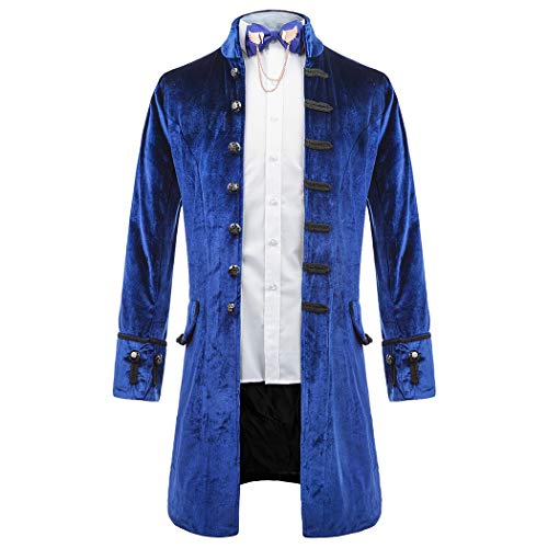 Men's Velvet Steampunk Vintage Tailcoat Jacket Gothic Victorian Frock Coat Long Tuxedo Halloween -