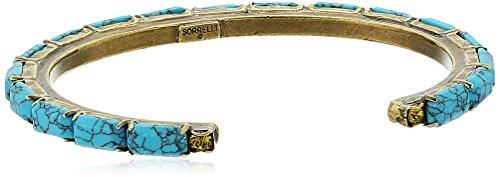 Baguette Gold Tone Bracelet - Sorrelli Botanical Brights Brilliant Baguette Cuff Bracelet