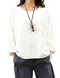 Women's 3/4 Sleeve Cotton&linen Oversize Blouse Top Shirt