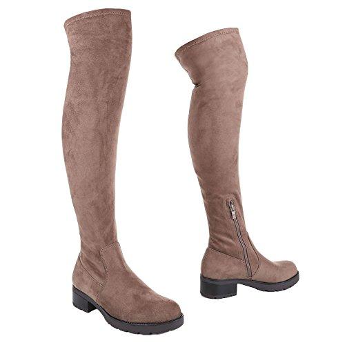Ital-Design Overknee Stiefel Damen Schuhe Klassischer Stiefel Blockabsatz Overknee Reißverschluss Stiefel Hellbraun