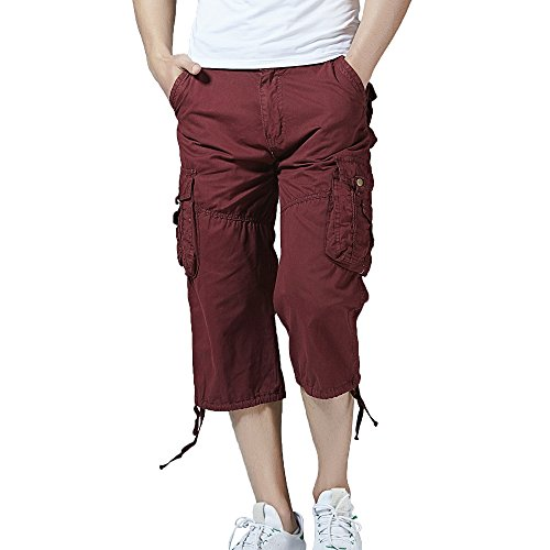 Hycsen Men's Cotton Twill Relaxed Fit Cargo Short-Wine red-30 ()