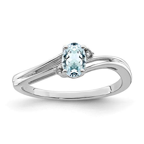 925 Sterling Silver Diamond Blue Aquamarine Oval Band Ring Size 7.00 Gemstone Fine Jewelry Gifts For Women For Her