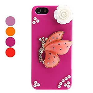 LX 3D Design Butterfly Design for iPhone 5/5S Color red