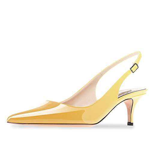 Modemoven Women's Yellow Patent Leather Pointed Toe Slingback Ankle Strap Kitten Heels Pumps Evening Stiletto Shoes - 6.5 M - Leather Sandals Heel Kitten