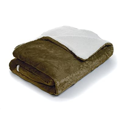 Bedford Home Fleece Blanket with Sherpa Backing, Full/Queen, Brown - Style: Fleece Blanket with Sherpa Backing Material: 100% Polyester Care Instructions: Machine Wash with Cold Water, Tumble Dry Low Heat - blankets-throws, bedroom-sheets-comforters, bedroom - 41TLJA6ZSUL. SS400  -