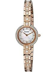 Bulova Womens 98L215 Crystal Analog Display Quartz Rose Gold Watch