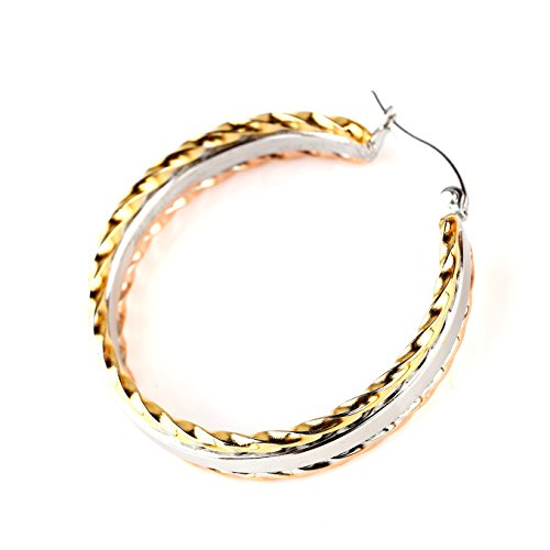 - United Elegance - Contemporary Smooth Center Tri-Color Silver, Gold & Rose Tone Hoop Earrings with Twisted Edges