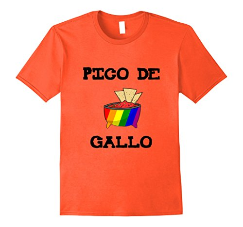 Mens Pico De Gallo LGBT Gay Rainbow T-Shirt Medium Orange