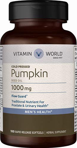 Vitamin World Pumpkin Seed Oil 1,000mg. 100 Softgels, Cold-pressed, Supports Prostate Health, Supports Urinary Health, Rapid-release, Gluten-Free